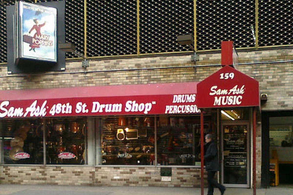 """Sam Ash's Drum Shop on West 48th Street via <a href=""""http://bambamtheinfluence.wordpress.com/page/3/"""">Bam Bam the Influence</a>"""