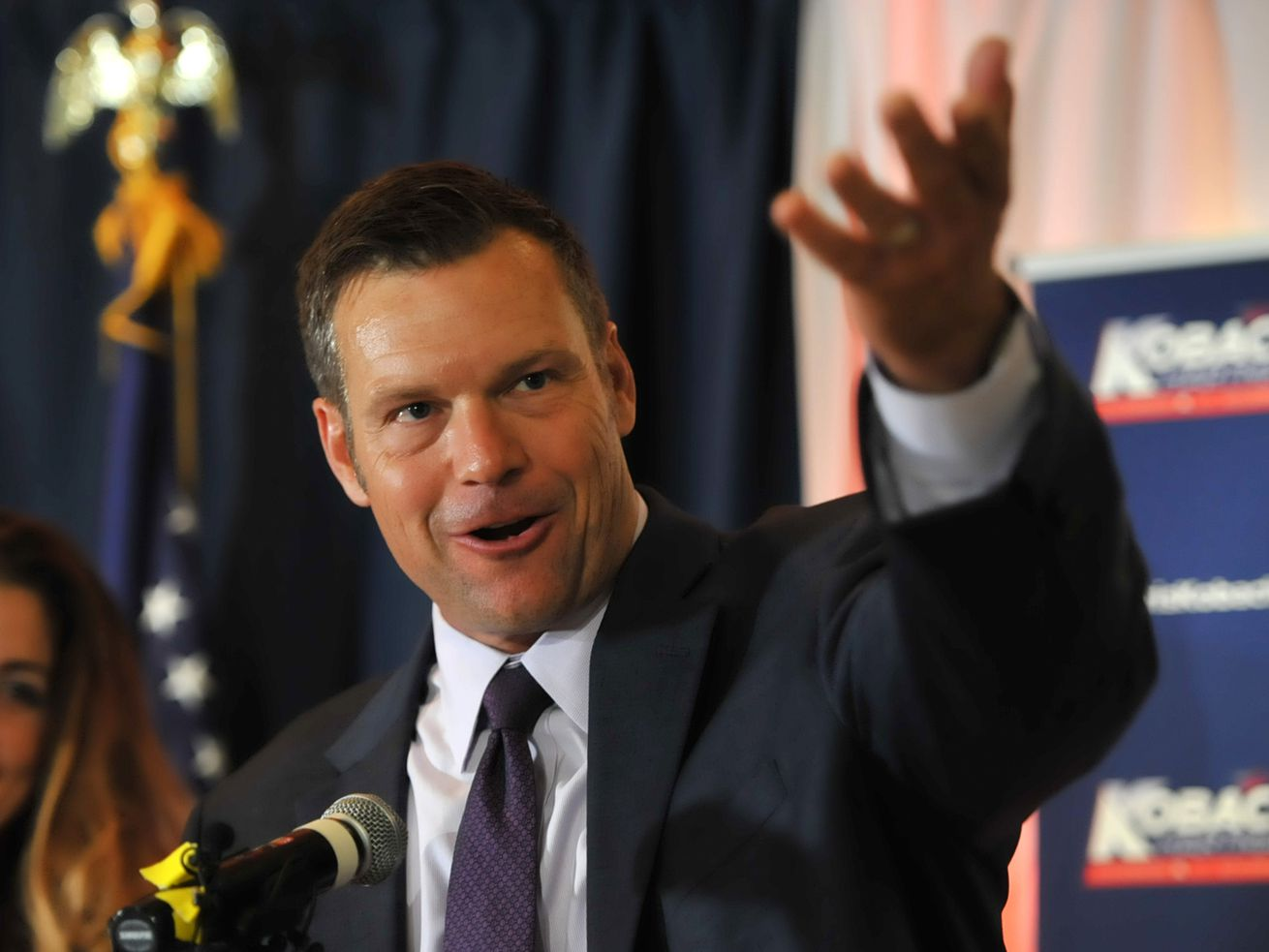 Kris Kobach attends his primary night gathering In Topeka, Kansas, on August 7, 2018.