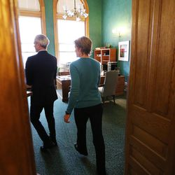 Mayor Ralph Becker leaves a conference room with his wife, Kate Kopischke, after addressing the media at the City-County Building in Salt Lake City on Tuesday, Nov. 17, 2015. The Salt Lake City Council, acting as the city's board of canvassers, certified final election results Tuesday. Jackie Biskupski defeated Becker by 1,194 votes — 51.55 percent to 48.45 percent — with more than 38,000 votes cast.