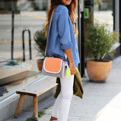 """Jules of <a href=""""http://www.sincerelyjules.com/2013/03/feelin-saucy.html"""">Sincerely, Jules</a> is wearing her <a href=""""http://www1.bloomingdales.com/shop/product/sincerely-jules-x-meredith-wendell-crossbody-exclusive-saucy-pan?ID=695641"""">SincerelyJules X"""
