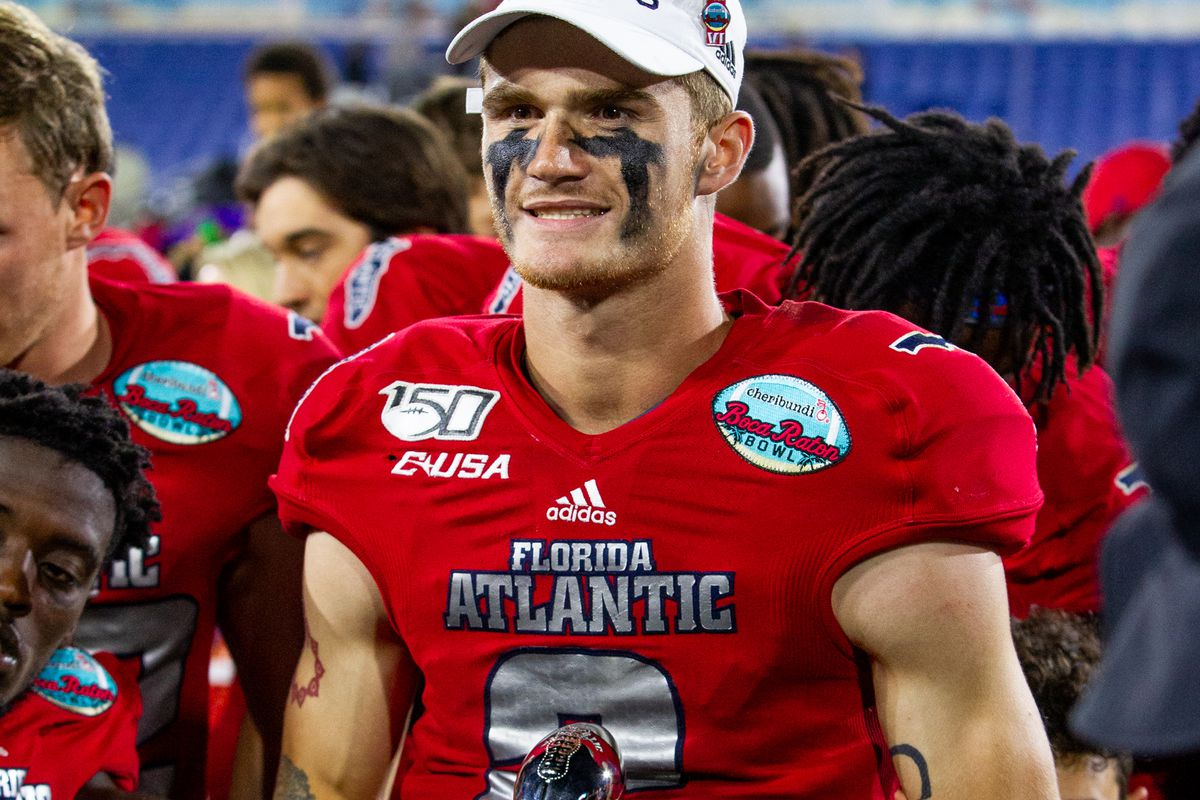 Owls quarterback Chris Robinson during the trophy ceremony after winning the Cheribundi Boca Raton Bowl college football game between the Southern Methodist University Mustangs and the FAU Owls on December 21, 2019 at FAU Stadium in Boca Raton, FL.