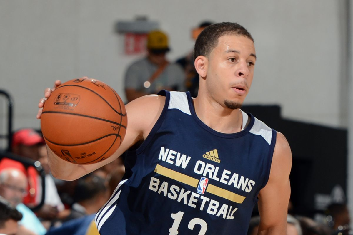 Seth Curry #12 of the New Orleans Pelicans handles the ball against the Dallas Mavericks on July 11, 2015 at the Cox Pavilion in Las Vegas, Nevada.