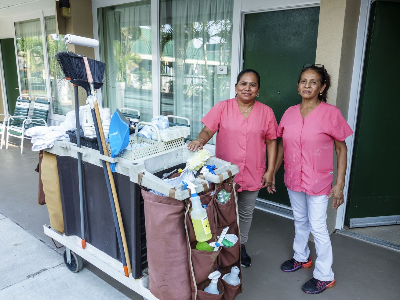 Housekeepers at work at Wyndham Garden hotel in Fort Myers, Florida.