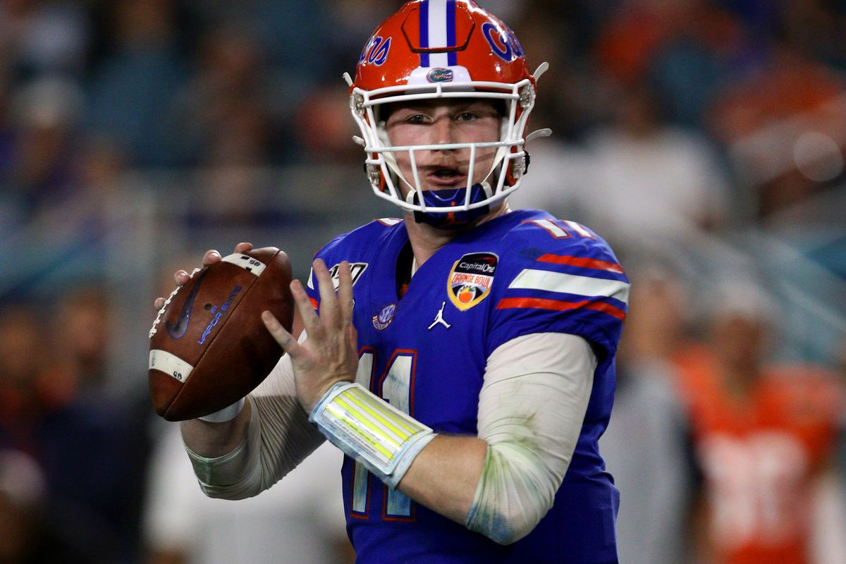Florida Gators quarterback Kyle Trask in action against the Virginia Cavaliers during the second quarter of the Capital One Orange Bowl on December 30, 2019, at Hard Rock Stadium in Miami Gardens, FL.