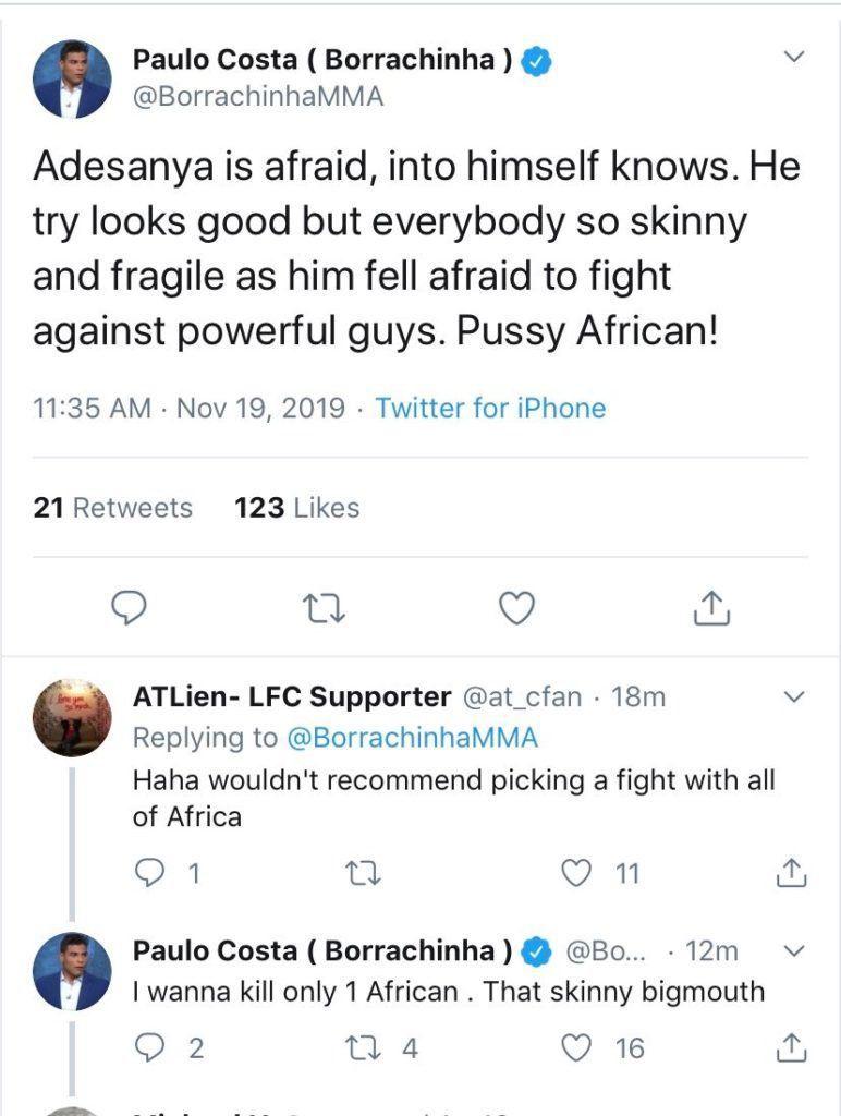 Paulo Costa tweets, deletes attack on 'p*ssy African' Israel Adesanya
