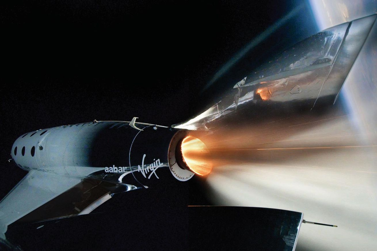 <em>Virgin Galactic's VSS Unity during its first spaceflight</em>