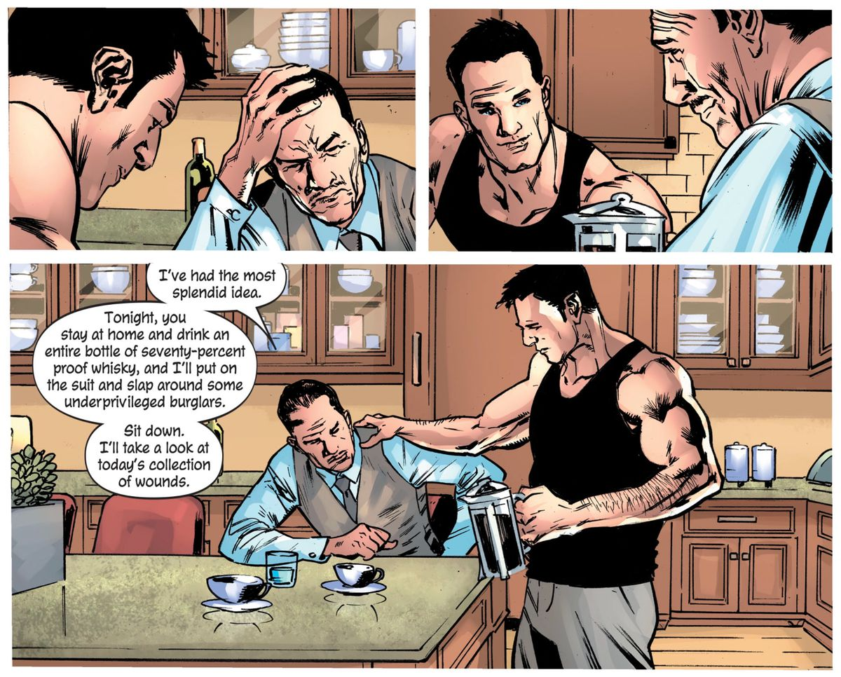"""""""I've had the most splendid idea,"""" Alfred tells Bruce Wayne, """"Tonight, you stay at home and drink an entire bottle of seventy-percent proof whisky, and I'll put on the suit and slap around some underprivileged burglars,"""" in The Batman's Grave #1, DC Comics (2019)."""