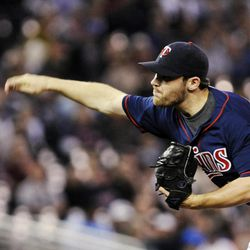 Minnesota Twins pitcher Liam Hendriks throws against the New York Yankees in the first inning of a baseball game, Monday, Sept. 24, 2012, in Minneapolis.