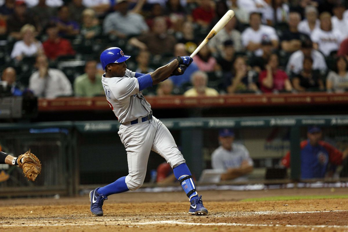 Houston, TX, USA; Chicago Cubs left fielder Alfonso Soriano hits an RBI single against the Houston Astros at Minute Maid Park. Credit: Thomas Campbell-US PRESSWIRE