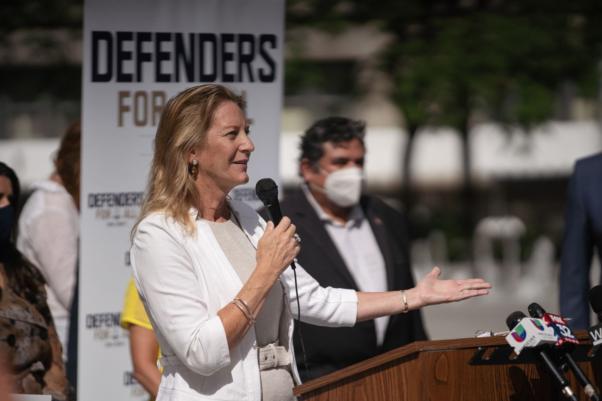 Cook County Public Defender Amy Campanelli speaks during a news conference outside the Richard J. Daley Center in July.