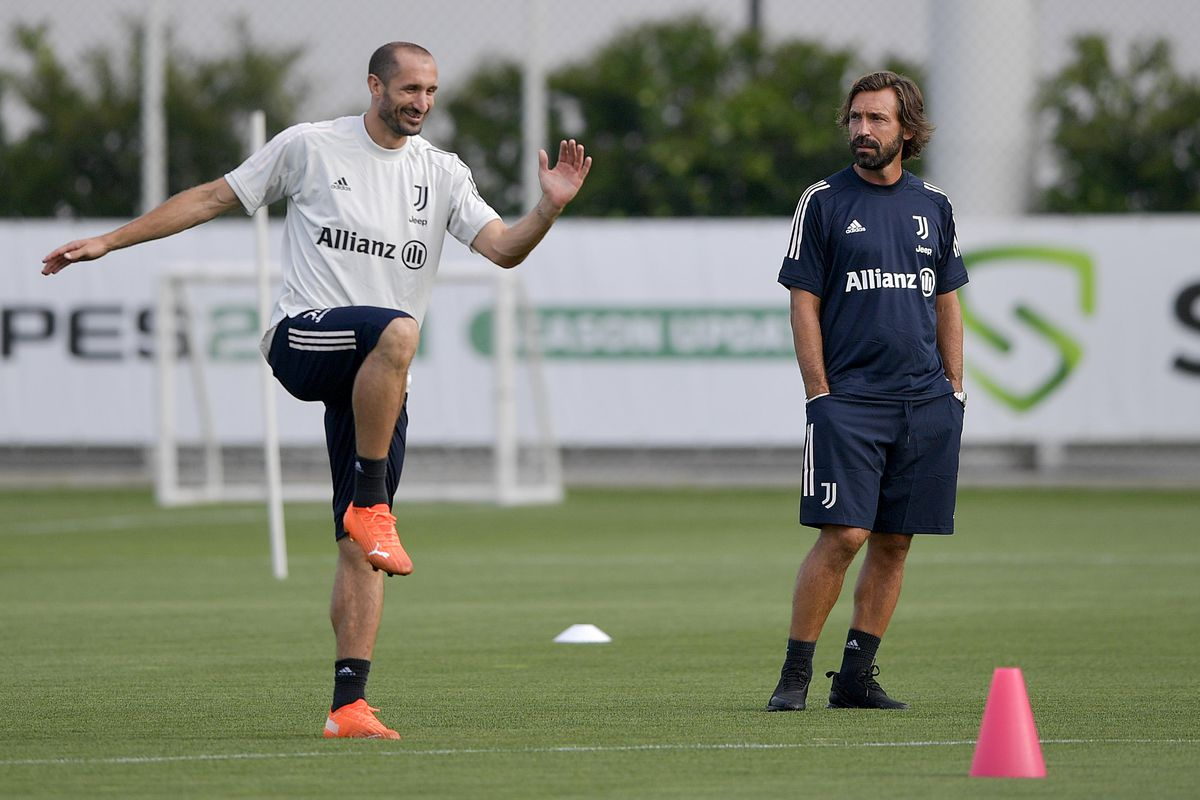pirlo as a manager with chiellini