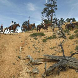 Riding through one of the 60 miles of trails in Red Canyon area Tuesday, June 2, 2009, in Dixie National Forest, Utah.