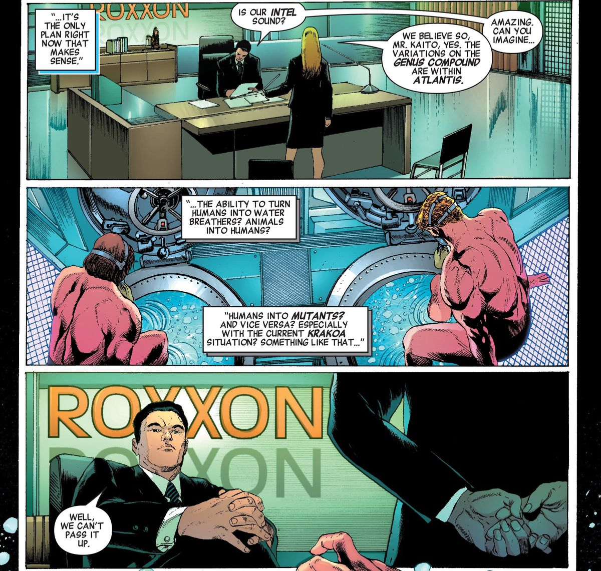 A Roxxon executive discusses Atlantian technology, and mentions the existence of the state of Krakoa, in Invaders #9, Marvel Comics (2019).