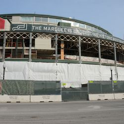 1:18 p.m. The front of the ballpark -