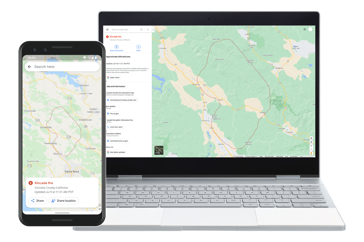 Google's new wildfire mapping feature includes wildfire boundaries, top news stories, and official updates.