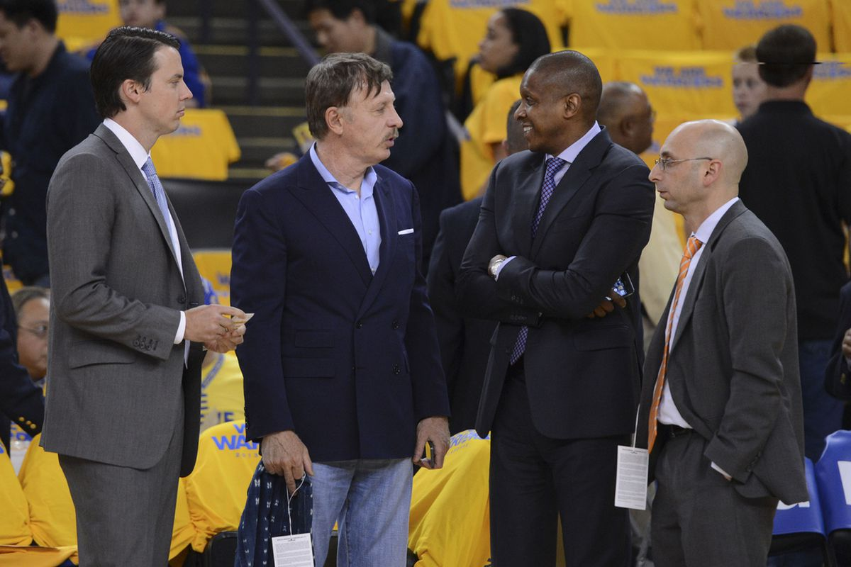 Josh and Stan Kroenke with Masai Ujiri and Pete D'Alessandro in Oakland.
