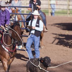 Bowdie Jacobson ropes a calf during the Utah High School Rodeo Finals in Heber City on Saturday, June 3, 2017.