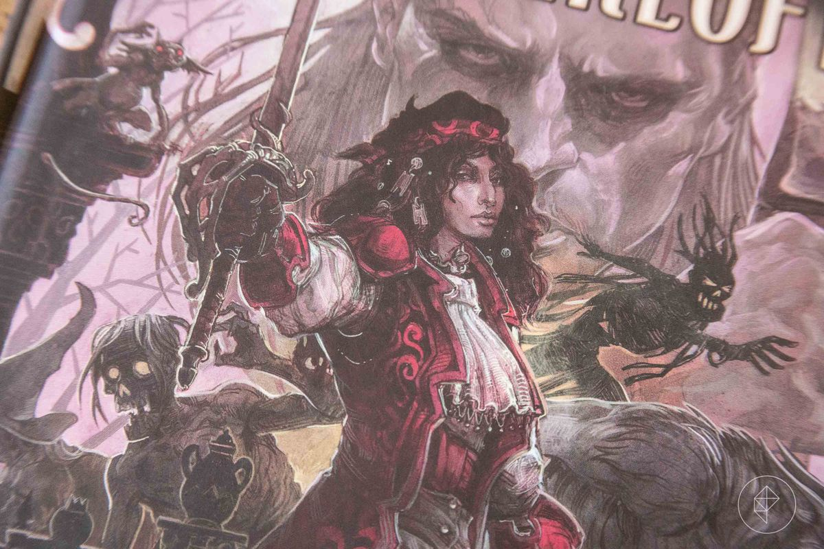 Ez D'Avenir stands defiantly as the vampire, Strahd, lurks behind her. He is gigantic.