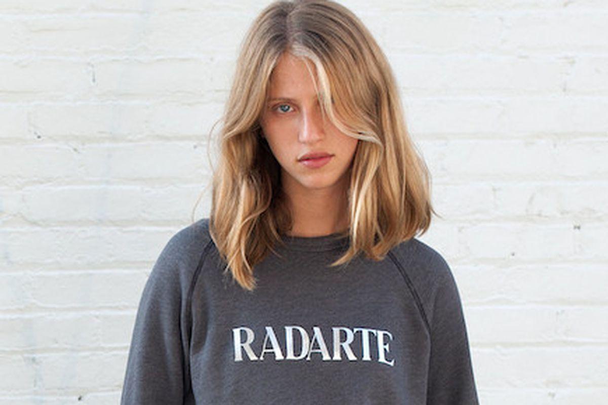 "Radarte Sweatshirt, $154. Image via <a href=""http://shop.thezoereport.com/collections/apparel/products/rodarte-radarte-sweatshirt?variant=858527161"">ZoeReport.com</a>"