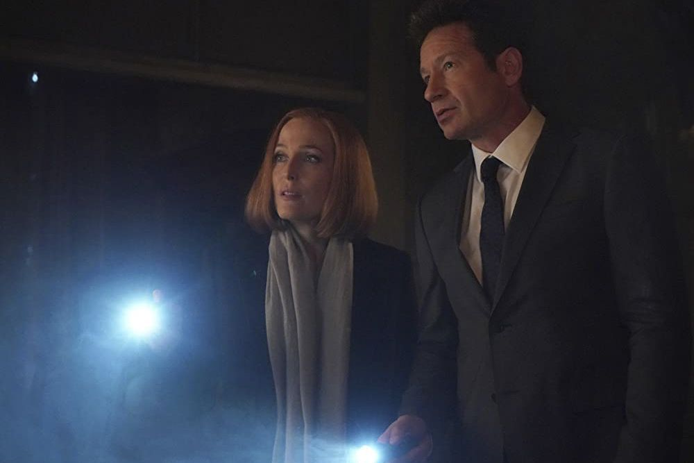 Fox Mulder and Dana Scully, the leads of Fox's The X-Files, in a still from the show.
