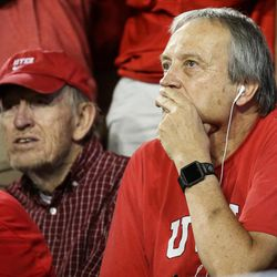 Utah Utes fans watch the game against the Brigham Young Cougars at LaVell Edwards Stadium in Provo on Saturday, Sept. 9, 2017.