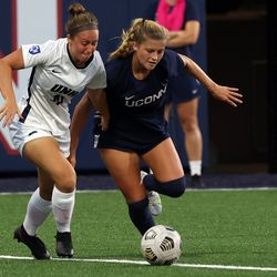 UConn's Sophie McCarthy #9 during the New Hampshire Wildcats vs the UConn Huskies exhibition women's college soccer game at Morrone Stadium at Rizza Performance Center in Storrs, CT, on Saturday August 14, 2021.