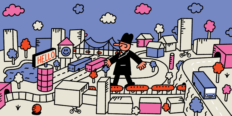 A man in a suit stands amidst a city with a train, buildings, roads, and parks. This is an illustration.