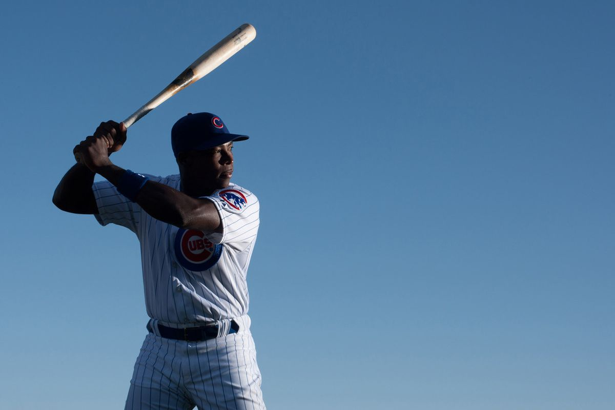 Chicago Cubs left fielder Alfonso Soriano during photo day at HoHoKam Park. Credit: Jake Roth-US PRESSWIRE