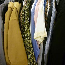 A close-up of the Prada rack