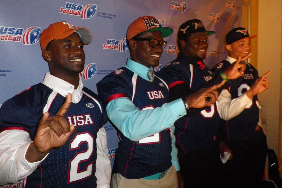 Texas signees (from left) Daje Johnson, Tim Cole, Malcom Brown, and Caleb Bluiett were all smiles following their signing ceremony at the International Signing Day breakfast (Photo by the author).