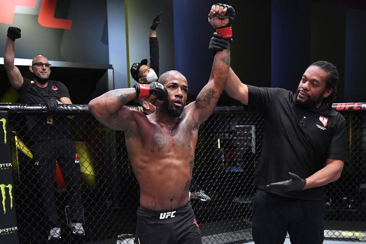 Bobby Green celebrates after his victory over Alan Patrick of Brazil in a lightweight fight during the UFC Fight Night event at UFC APEX on September 12, 2020 in Las Vegas, Nevada.