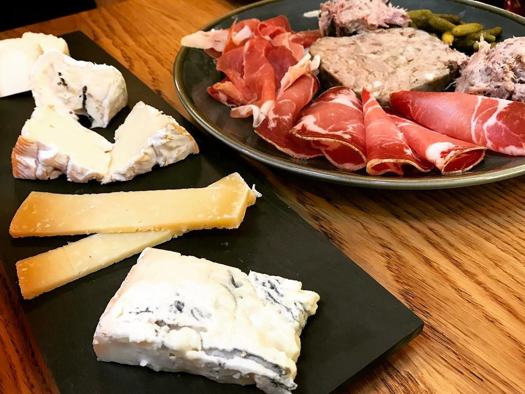 Cheese and charcuterie platter at Cheese at Leadenhall, one of the best places to eat cheese in London