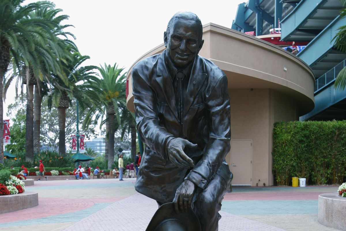 ANAHEIM, CA - OCTOBER 12: A statue of former Angels owner Gene Autry stands outside of Edison Inter