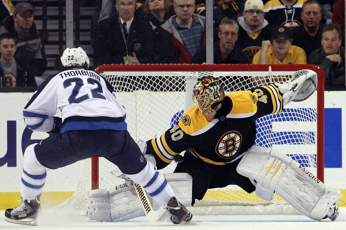 BOSTON, MA - JANUARY 10:  Tuukka Rask #40 of the Boston Bruins stops a penalty shot by Chris Thorburn #22 of the Winnipeg Jets in the first period on January 10, 2012 at TD Garden in Boston, Massachusetts.  (Photo by Elsa/Getty Images)