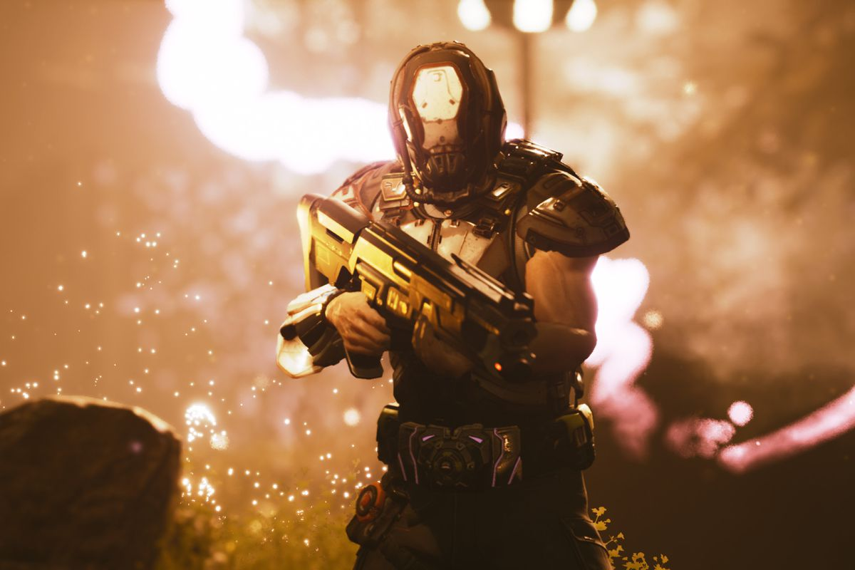 A masked futuristic soldier stands in a burning forest in a screenshot from Stormdivers
