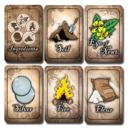 The ingredient cards in the game show what is available and necessary to cast spells.