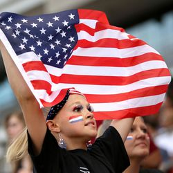 Kayla Huston shows her support for the United States team before a soccer game against Venezuela at Rio Tinto Stadium in Sandy on Saturday, June 3, 2017.
