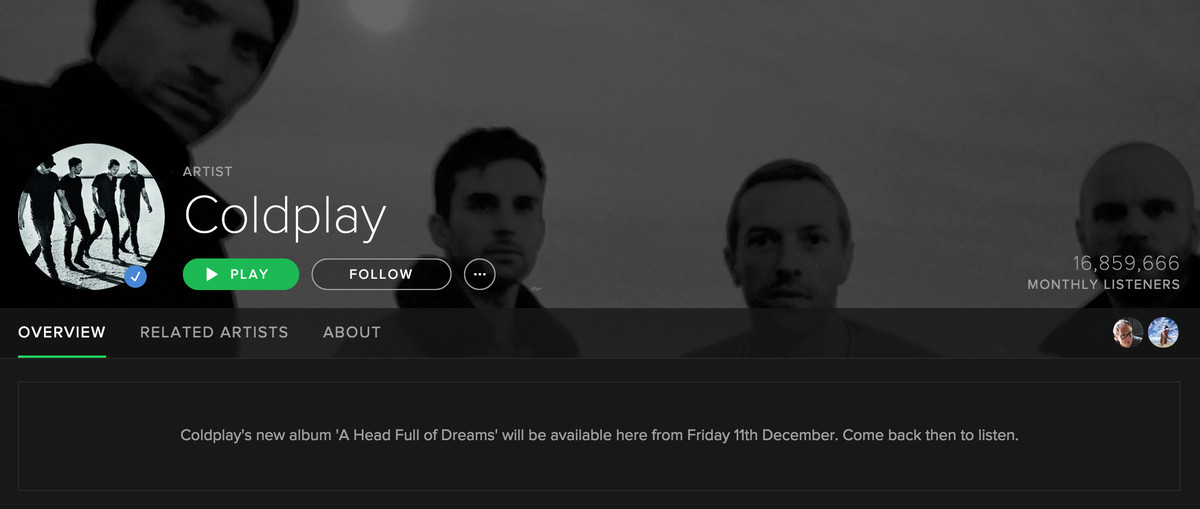 coldplay spotify coming soon