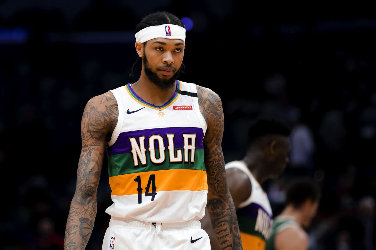 New Orleans Pelicans forward Brandon Ingram reacts after a loss against the Milwaukee Bucks at the Smoothie King Center.