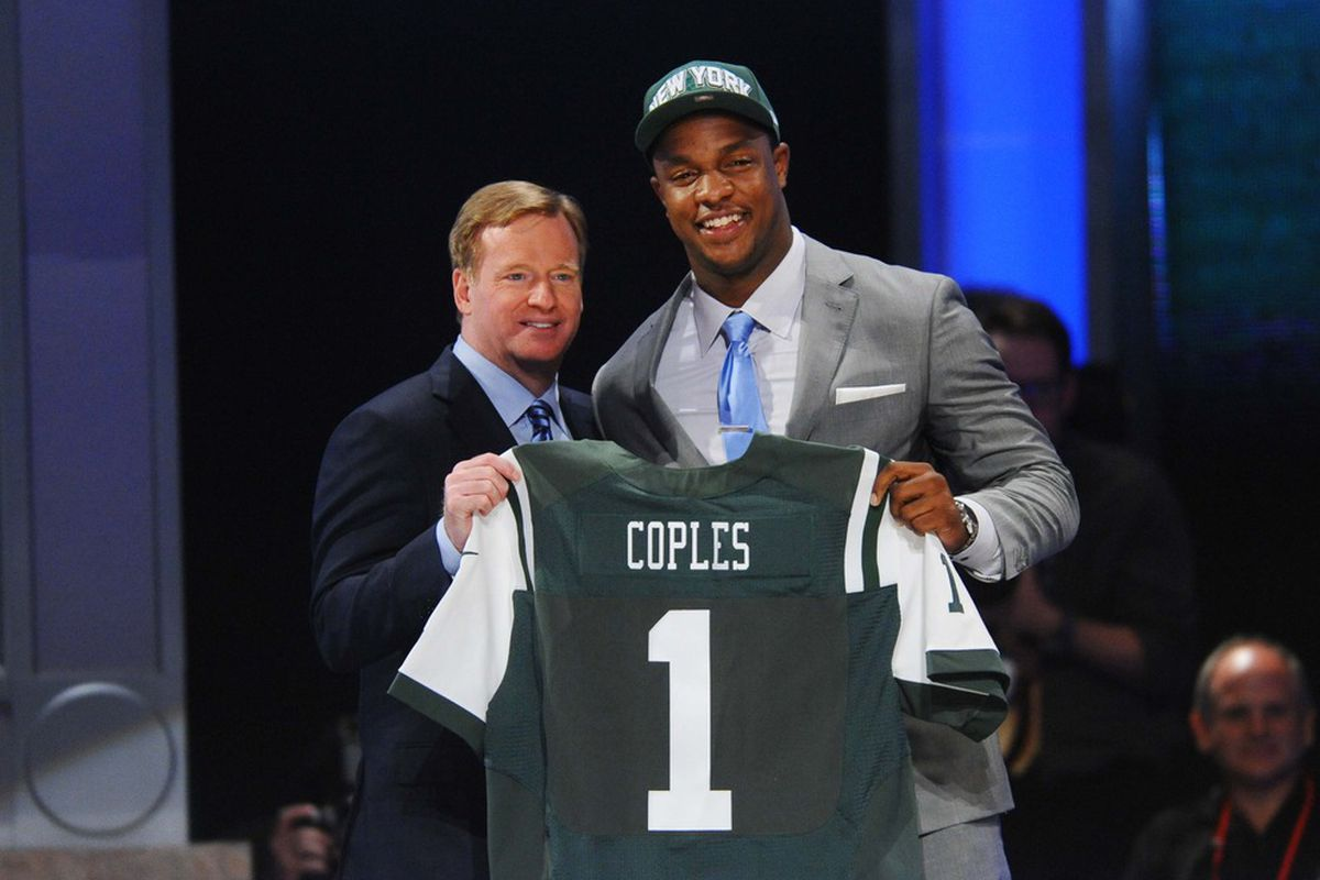 NFL commissioner Roger Goodell introduces defensive end Quinton Coples (North Carolina) as the 16th overall pick by the New York Jets in the 2012 NFL Draft at Radio City Music Hall. James Lang-US PRESSWIRE