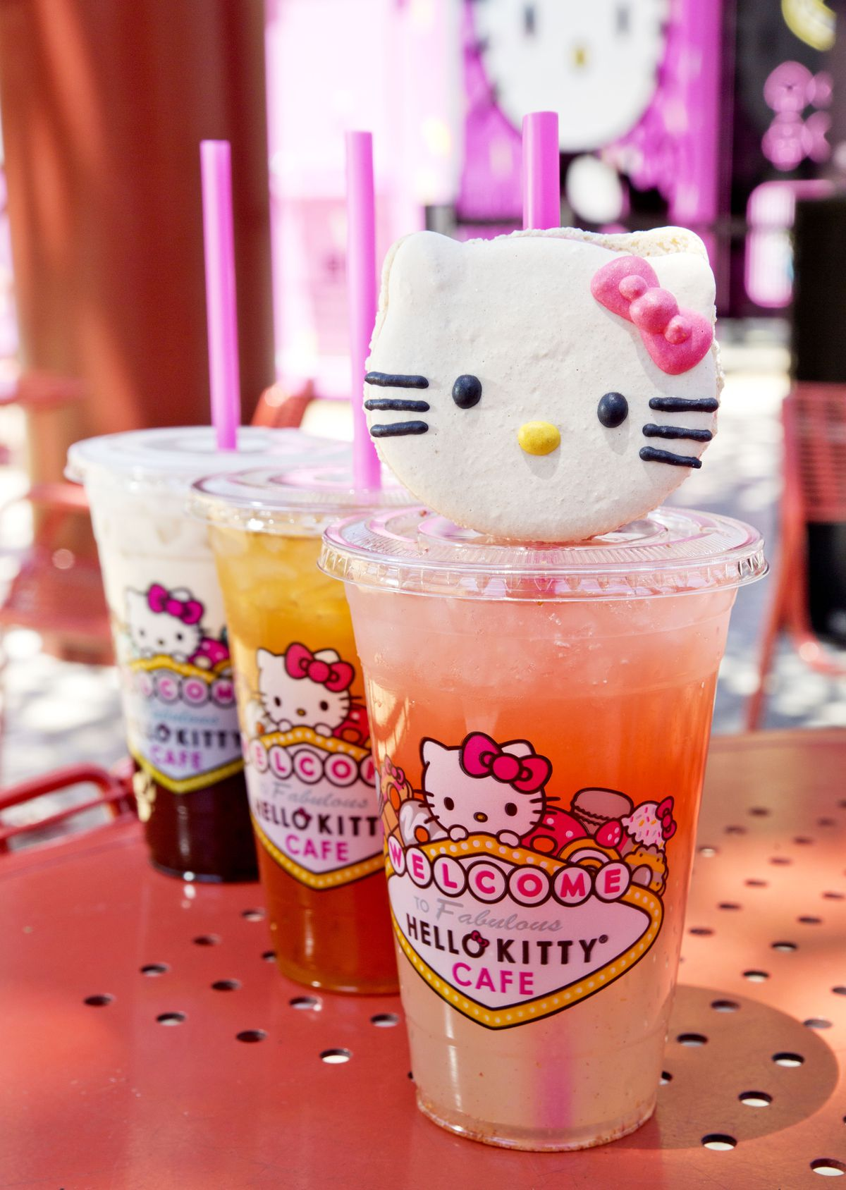 Drinks at the Hello Kitty Cafe