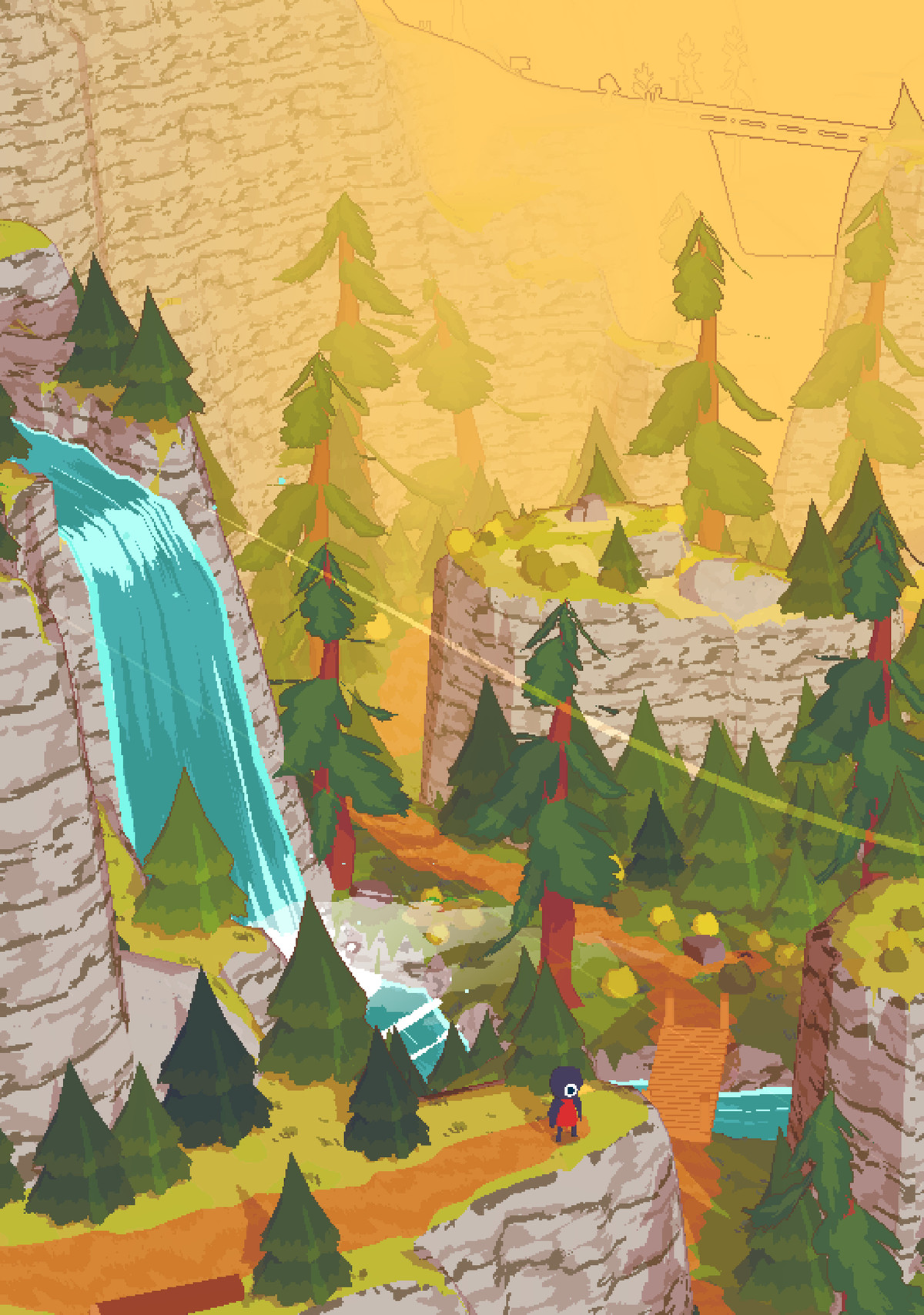 A wide shot of the mountain in A Short Hike, with a pixel bird standing in front of a waterfall.