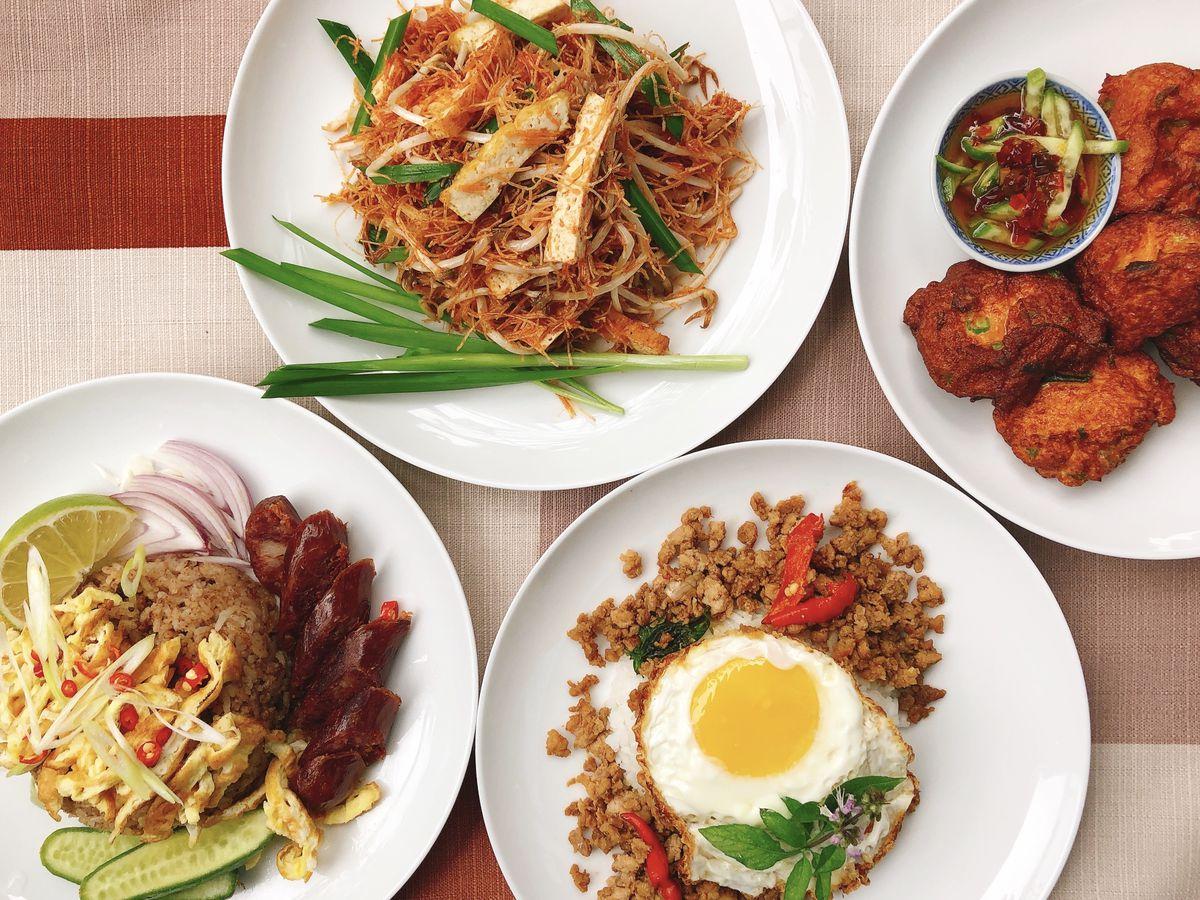 A spread of Thai food.