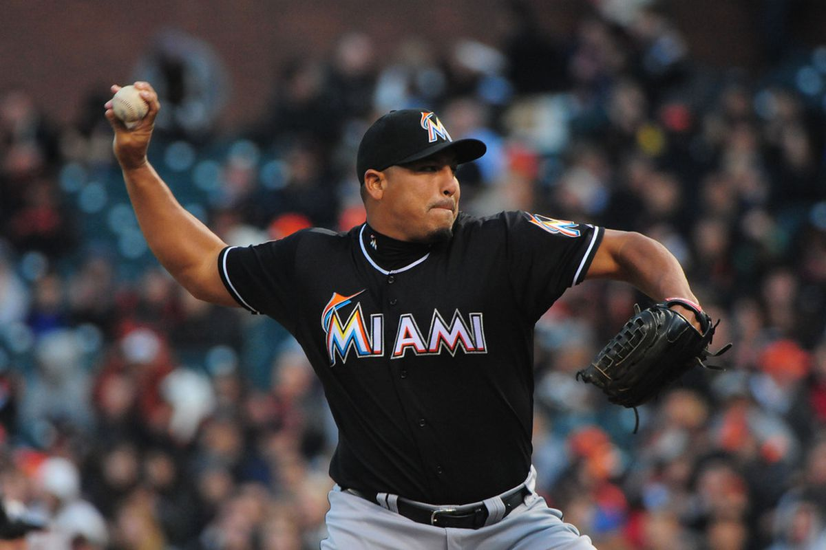 May 2, 2012; San Francisco, CA, USA; Miami Marlins starting pitcher Carlos Zambrano (38) delivers a pitch during the first inning against the San Francisco Giants at AT&T Park. Mandatory Credit: Kyle Terada-US PRESSWIRE