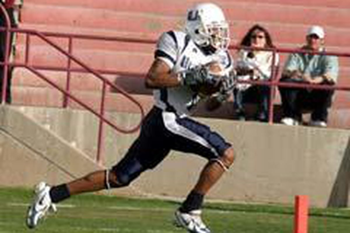 Utah State wide receiver Tony Pennyman runs in a touchdown Saturday in USU's 24-21 season-ending victory at New Mexico State.