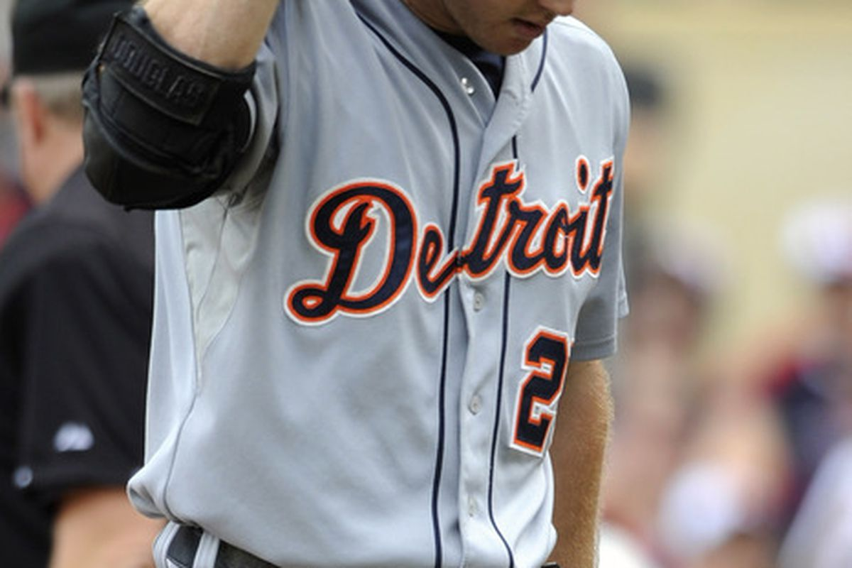 MINNEAPOLIS, MN - JULY 23: Brennan Boesch #26 of the Detroit Tigers reacts to his second strike out against the Minnesota Twins in the third inning on July 23, 2011 at Target Field in Minneapolis, Minnesota. (Photo by Hannah Foslien/Getty Images)
