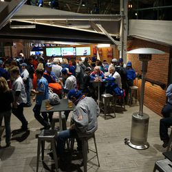 Part of the new bar set up inside the bleacher entrance, where the restrooms used to be located