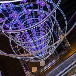 The Topgolf stairs and chandelier