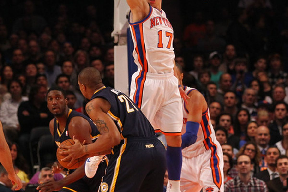 NEW YORK, NY - MARCH 16:  Jeremy Lin #17 of the New York Knicks defends against David West #21 of the Indiana Pacers during their game at Madison Square Garden on March 16, 2012 in New York City.  (Photo by Al Bello/Getty Images)