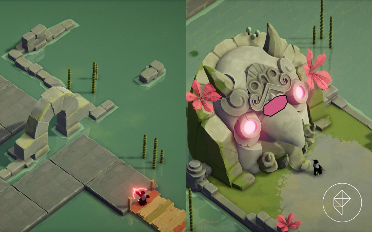 A split image showing a secret path on the left and a magic shrine on the right